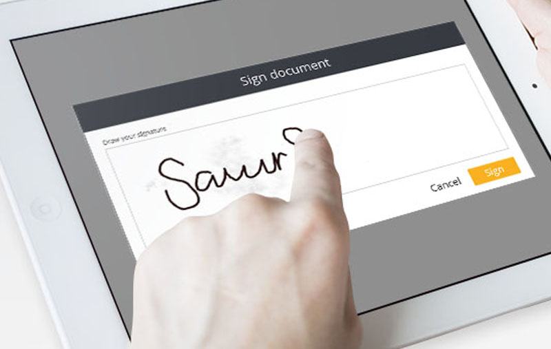 Person signing signature electronically
