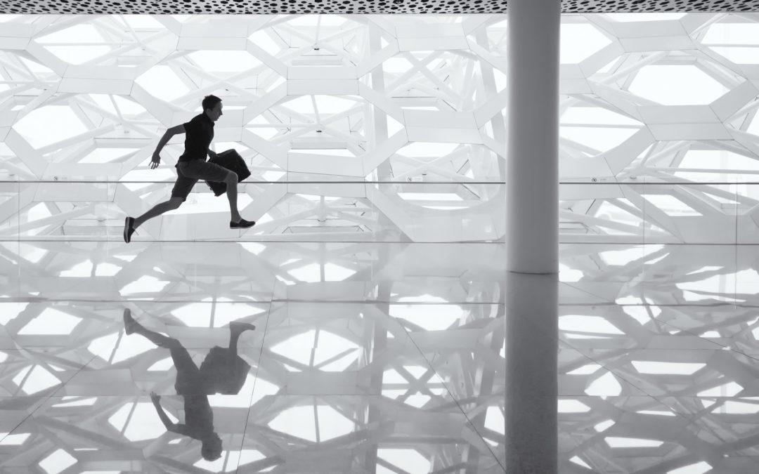 Running man in lobby