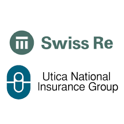 Swiss RE and Utica National Insurance Group logos