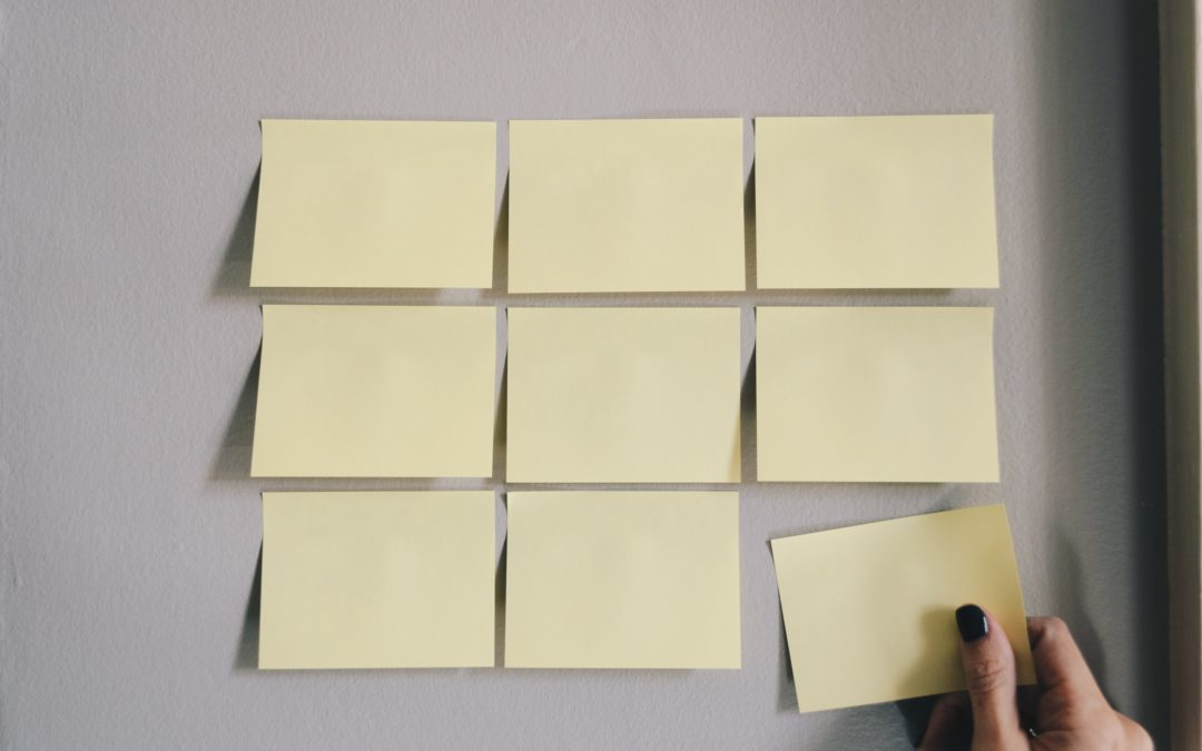 Rows of blank sticky notes on wall