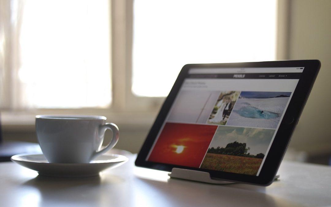 Internet displayed on tablet on desk