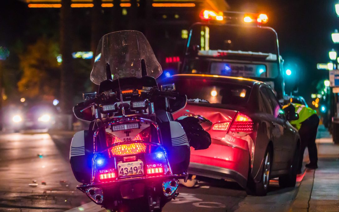 Police at car accident scene